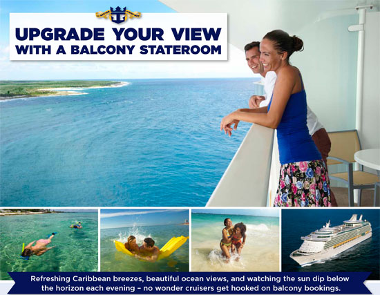 Cheap cruises royal caribbean upgrade your view with a for Balcony upgrade