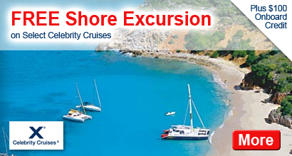 FREE Shore Excursion, $100 Onboard Credit on Select Celebrity Cruises