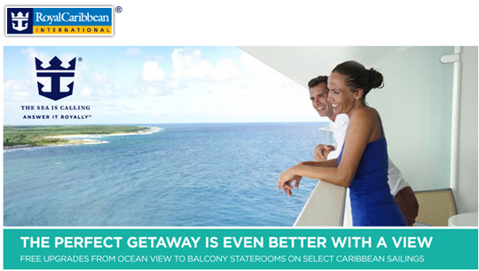 Royal Caribbean cruise line FREE cabin upgrade from CruiseMagic - Ocean View to Balcony
