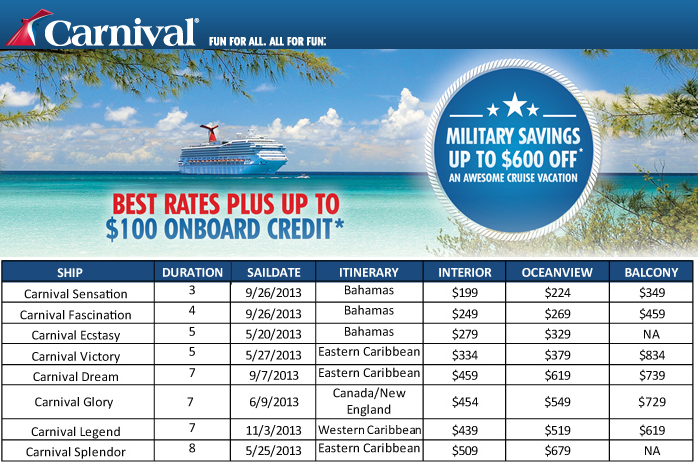 Carnival cruise discount coupons