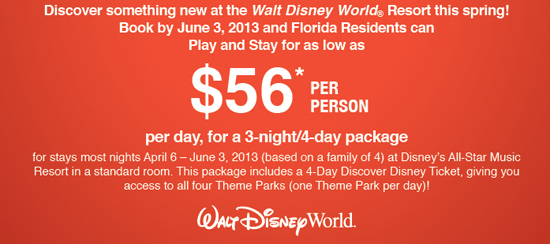 Disney 3 Day Pass for Florida Residents only $139